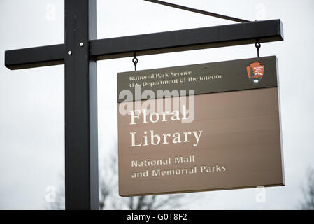 The Floral Library is a small garden patch run by the National Park Service. It's located next to the Tidal Basin - Stock Photo