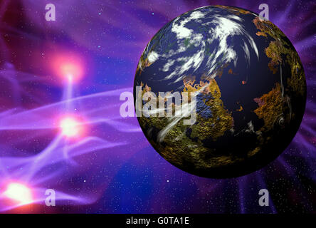 Illustration of space scene with simulated planet with plasma rays - Stock Photo