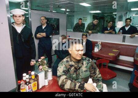 US NAVY, crew in refectory room on amphibious assault ship Wasp - Stock Photo