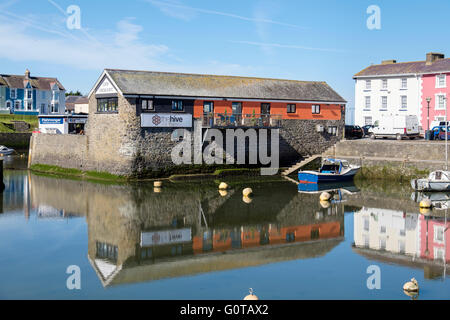 The Hive cafe and restaurant from across the inner harbour.  Aberaeron, Ceredigion, Mid Wales, UK, Britain - Stock Photo