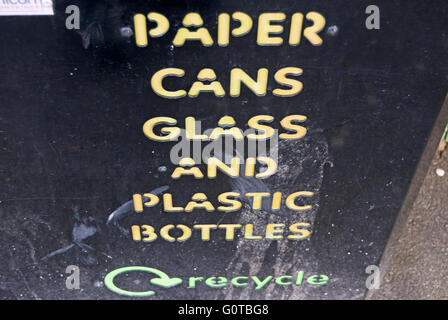 wording on recycle bin in east molesey, surrey, england - Stock Photo