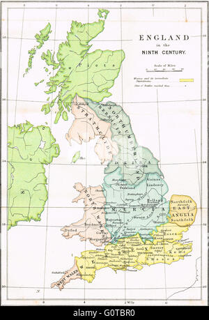 Map Of England 9th Century.Map Of England Showing The Anglo Saxon Kingdoms And Danish Districts