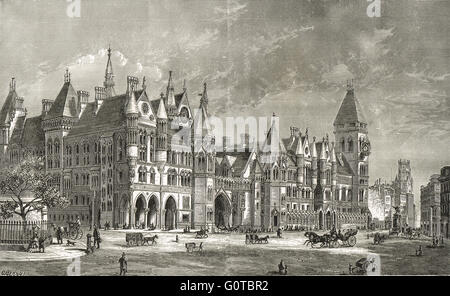 Royal Courts of Justice in the 19th Century - Stock Photo