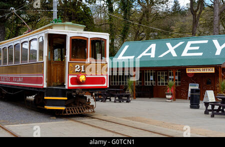 Manx electric railway tram at Laxey station - Stock Photo