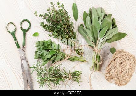 Fresh garden herbs on wooden table. Oregano, thyme, sage, rosemary. Top view - Stock Photo