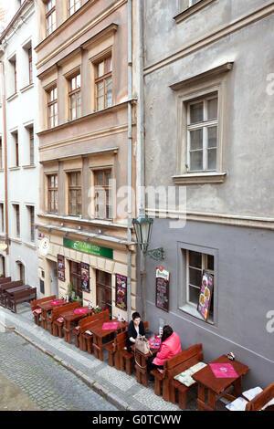 Cafe outside near Castle Steps, Prague, Czech Republic - Stock Photo