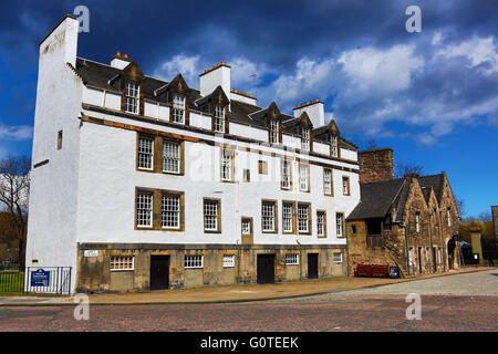 Old houses on Abbey Strand at the end of the Royal Mile in Edinburgh, Scotland, United Kingdom - Stock Photo