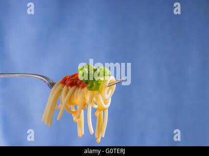 Spaghetti on Fork with Marinara Sauce and Basil - Stock Photo