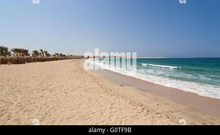 Abu Dabbab bay sandy beach in Marsa Alam region Egyptian Red Sea coast - Stock Photo