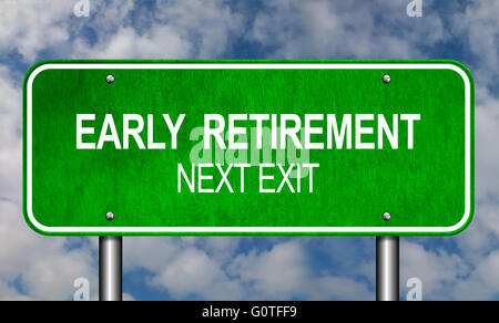 Early Retirement Road Sign Announcement - Stock Photo
