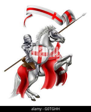 An illustration of Saint George in medieval knight armour mounted on his horse - Stock Photo