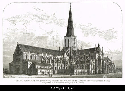 Old St Paul's Cathedral from the South West showing the Church of St Gregory and the Chapter House - Stock Photo