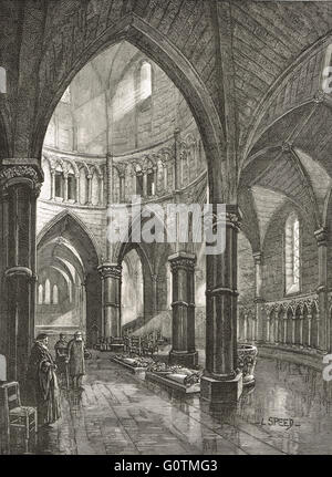 Interior of Temple Church, London in the 19th Century - Stock Photo
