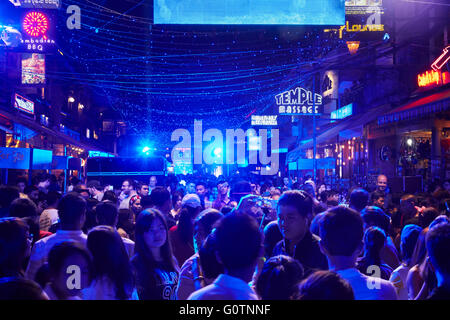 New Year's Eve Party in Pub Street, Siem Reap, Cambodia - Stock Photo