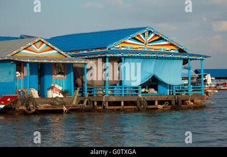 Floating home, Chong Khneas Floating Village, Tonle Sap Lake, near Siem Reap, Cambodia - Stock Photo
