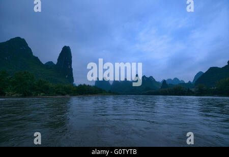 Early morning light on the Li River at Xingping, Guangxi Autonomous Region, China - Stock Photo