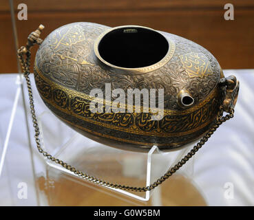 Islam. Near East. Persia. Kashkul (begging bowl for a Dervish). Steel; casting, carving, gilding. Iran, Late 19th - Stock Photo