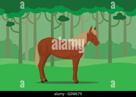 wild horse in jungle alone with tree forest as background - Stock Photo