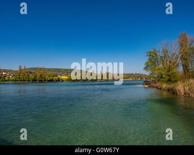 Rhein landscape at the island of Werd, Stein am Rhein, Canton Schaffhausen, Switzerland Europe - Stock Photo