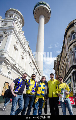Liverpool, UK. 5th May, 2016. Fans of  Villareal enjoying the afternoon sunshine before the UEFA Europa League semi - Stock Photo