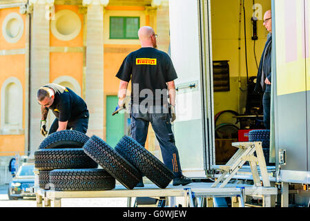 Karlskrona, Sweden. 5th May 2016. 41st South Swedish Rally is about to start. Preparations and arrivals are commencing. - Stock Photo
