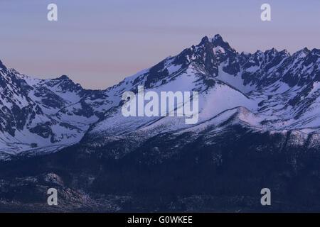 View of High Tatra Mountains in twilight Slovakia - Stock Photo