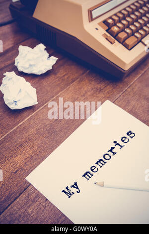 Composite image of the word my memories against white background - Stock Photo