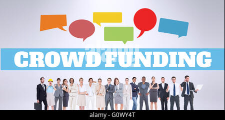 Composite image of the word crowdfunding against white background - Stock Photo