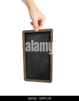 Person holding a blank piece of blackboard - Stock Photo