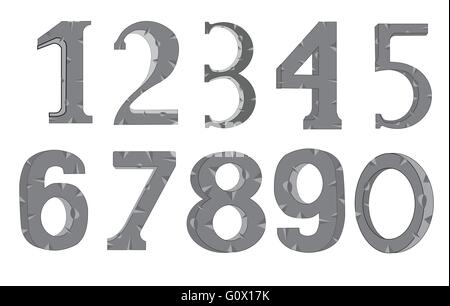 Set of the decorative numerals on white background is insulated - Stock Photo