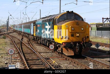 Class 37 diesel locomotive 37401 Mary Queen of Scots in large logo livery arriving at Carnforth with a passenger - Stock Photo