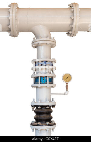 pipe and gauge from pump isolated on white background with clipping path - Stock Photo