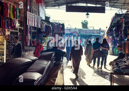 People getting to Marrakesh main square - Stock Photo
