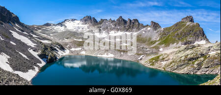 Panorama view of Wildsee (lake) near Pizol on the hiking path of 5-lake,hiking route, Switzerland - Stock Photo