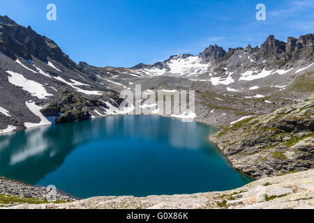 Stunning view of Wildsee (lake) near Pizol on the hiking path of 5-lake,hiking route, Switzerland - Stock Photo