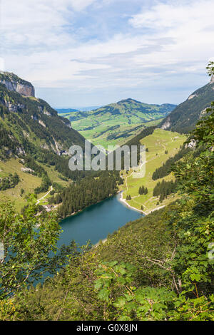 Aerial view of Seealpsee (lake) on the alpstein mountain in Switzerland - Stock Photo