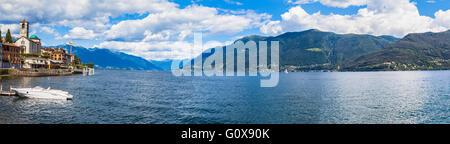 Panorama view of the Small town Brissago and Maggiore lake in Ticino, Switzerland - Stock Photo