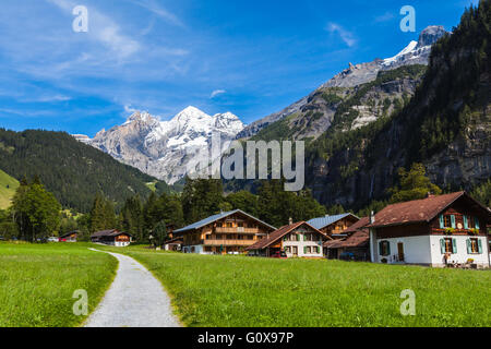 View of Bluemlisalp on the hiking path, swiss alps on Bernese Oberland of Switzerland - Stock Photo