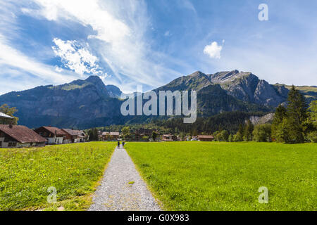 View of the alps on the hiking path near Kandersteg on Bernese Oberland of Switzerland - Stock Photo