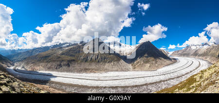 Panorama view of Wildsee (lake) near Pizol, Switzerland view of the Aletsch glacier on Mountains, Jungfrau region, - Stock Photo