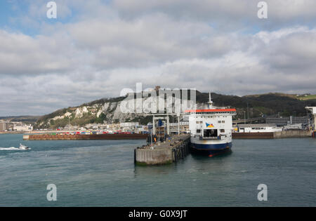 The view from a ferry as it departs Dover Eastern docks. The P&O ferry Pride of Burgundy has just moored and is - Stock Photo
