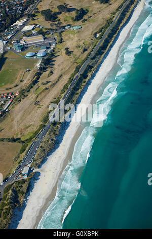 St Kilda Beach, and Chisholm Park Golf Course, Dunedin, Otago, South Island, New Zealand - aerial - Stock Photo