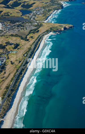 St Kilda Beach, Chisholm Park Golf Course, and Lawyer's Head, Dunedin, Otago, South Island, New Zealand - aerial - Stock Photo