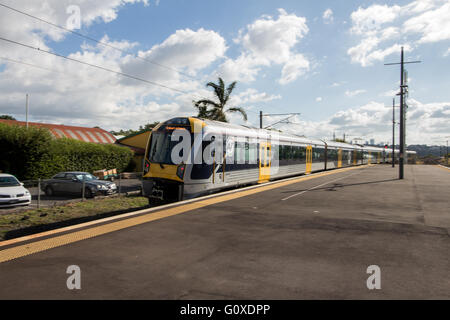 Auckland Transport Electric Train at Orakei Station - Stock Photo