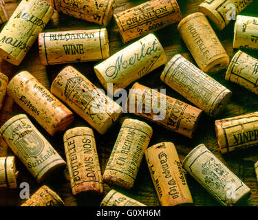 Wine corks background from all wine growing regions - Stock Photo
