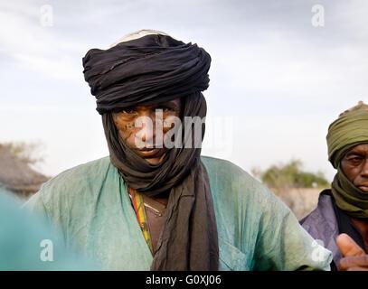 A Wodaabe-Bororo man for the annual Gerewol. Diffa. Sahel. Niger