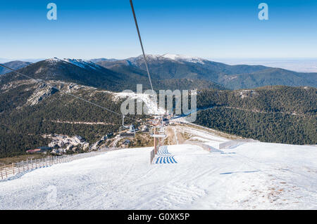 Chair lift in Navacerrada Ski Resort, Navacerrada Mountain Pass, Madrid, Spain - Stock Photo