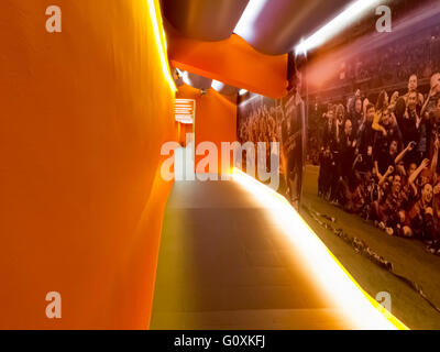Corridor to the the home team changing room in FC Barcelona football club Camp Nou stadium, Barcelona, Spain - Stock Photo