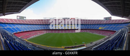 panoramic view of Camp Nou F.C. Barcelona football Stadium Barcelona, Spain - Stock Photo