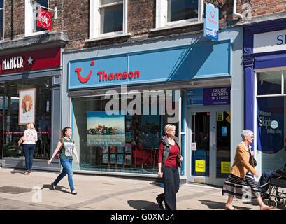 Thomson holidays travel shop store York North Yorkshire England UK United Kingdom GB Great Britain - Stock Photo